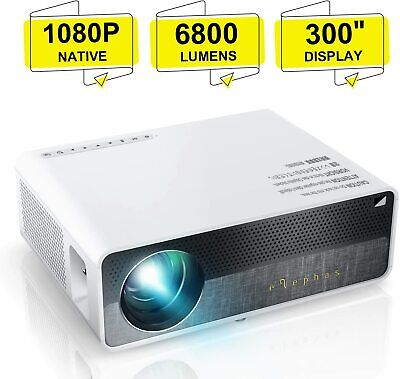 """ELEPHAS Q9 Native 1080P HD Video Projector Support 2K 6800 Lumens 300"""" Display"""