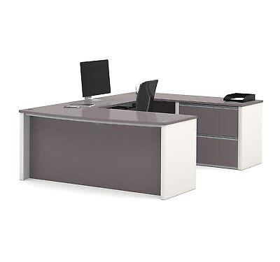 Bestar 93865-59 Connexion U-shaped Workstation Desk In Sandstone Slate Finish