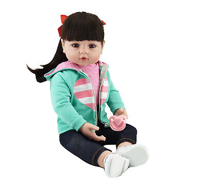 24in Reborn Baby Dolls Lifelike Realistic Reborn Toddler Girl Long Hair