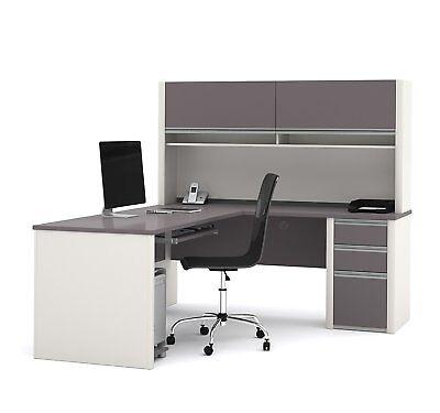 Bestar 93859-59 Connexion L-shaped Workstation Desk In Sandstone Slate Finish
