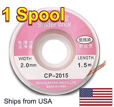 1 Pc. - Durable 1.5m X 2.0 Mm Copper Braid Desoldering Solder Removal Wick