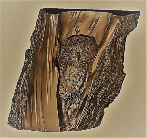 Owl relief 3d model relief for cnc in STL file format