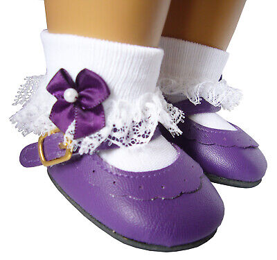 Purple Dress Shoes & Satin Pearl Bow Socks for 18