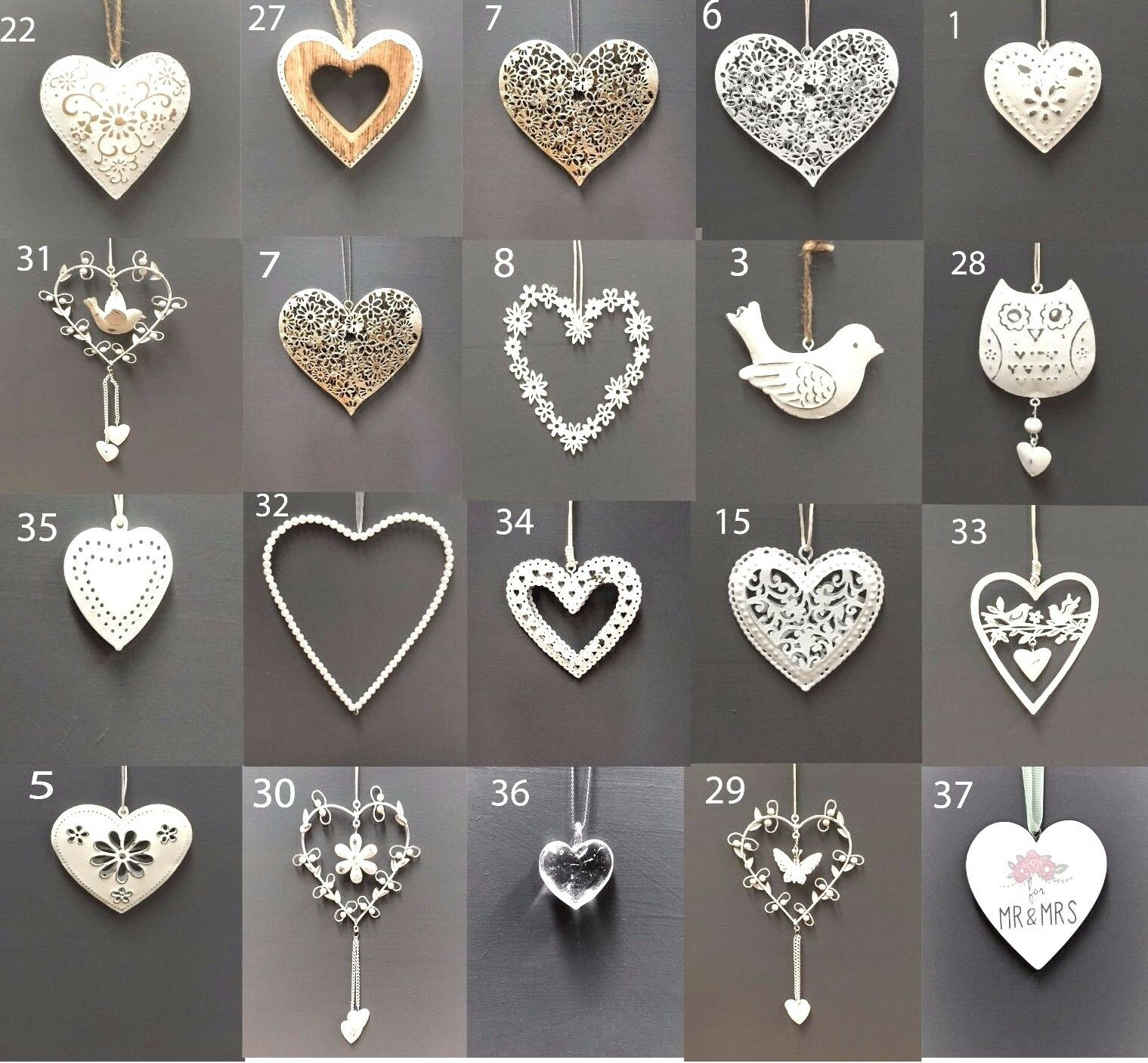 Home Decoration - Vintage Style Shabby & Chic Wedding Hanging Hearts Heart Home Decoration Gift