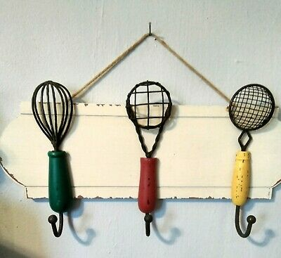 Kitchen Decor Wood Wall Hanging Country Farmhouse Utensils Hooks