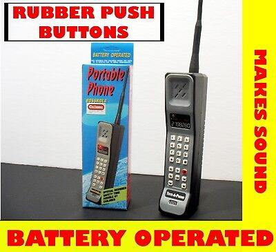 Toy Brick Cell Phone Zack 90`s 80`s Prop sounds  buttons mobile Battery Operated](90s Props)