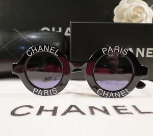 18b83cc112 RARE AUTH CHANEL ICONIC PARIS ROUND BLACK SUNGLASSES  01945-94305