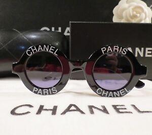631f9b28ed RARE AUTH CHANEL ICONIC PARIS ROUND BLACK SUNGLASSES  01945-94305
