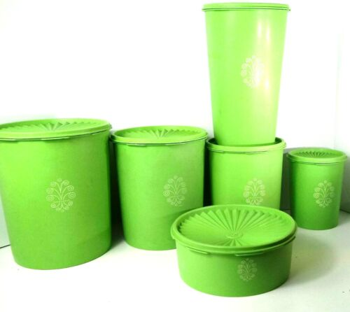 Vintage Tupperware Nesting Canister Lime Green 6 piece set w/lids