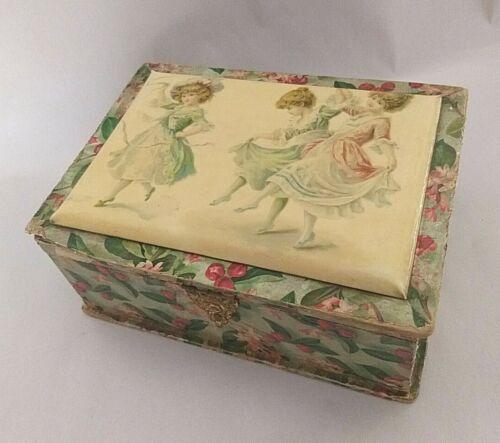 ANTIQUE VICTORIAN CELLULOID GIRLS DANCING VANITY DRESSER JEWELRY BOX Wood Paper