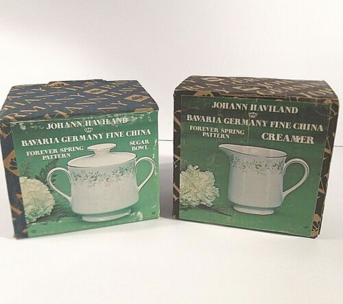 Johann Haviland Bavaria Germany China FOREVER SPRING Sugar Bowl & Creamer NEW