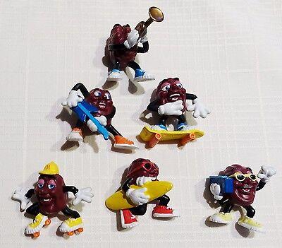 "1988 California Raisins, 2"" Tall Plastic Figures, Applause Set of 6."