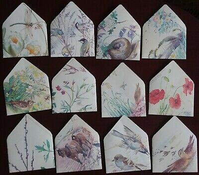 12 Handmade ENVELOPES with Edith Holden Watercolours & Cream insert cards (D)