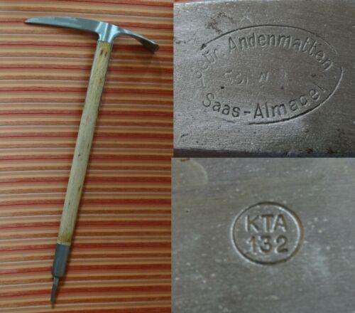 Swiss army military vintage ice axe ~1940 Gebr. Andenmatten Saas Almagel rarity
