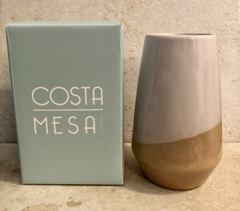 "Costa Mesa Supply Isla Two-Tone Decorative Modern Vase Cream Neutral 5"" NIB"
