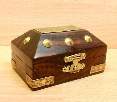 Vintage Dark Walnut & Brass Trinket Box.