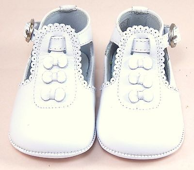DE OSU PR-233 - Baby Girls' White Leather Dress Pram Crib Shoes - Euro 15 Size 0 for sale  Shipping to India