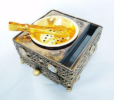 Decorative Arabian Metal Trinket Incense Box Bakhoor Burner with Tongs (Bronze)