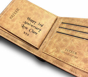 Unusual Christmas Gift Mens Personalised Leather Wallet Dad Son Uncle Brother