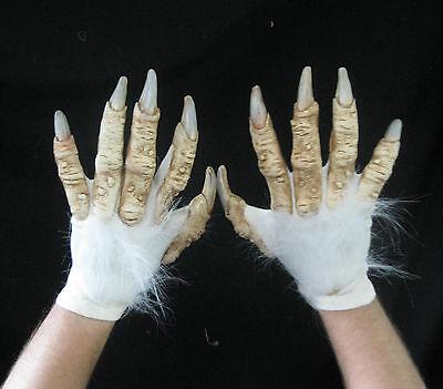 White Werewolf Yeti Abdonimal Beast Hands Scary Adult Halloween Costume Gloves