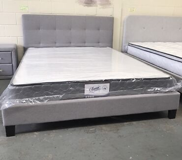 Brand new modern fabric bed frame double size   Beds   Gumtree ...