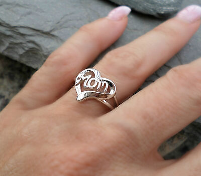 Mother's Day Rings Jewelry Gift Sliver Heart Mom Ring Inscribed To Mom With (Heart Mom Ring)