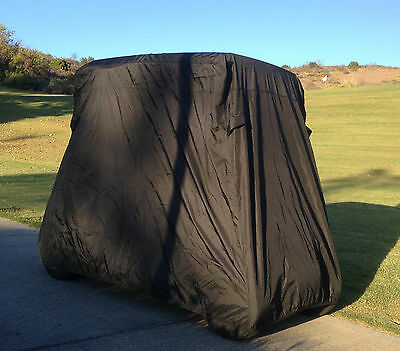 """2 Passenger Golf Cart Cover in Black roof up to 58"""", Fits E Z GO, Club Car"""