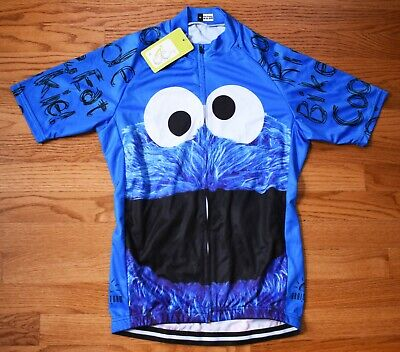 BRAINSTORM GEAR Cookie Monster Cycling Jersey Mens Medium NWT Blue Seseme Street