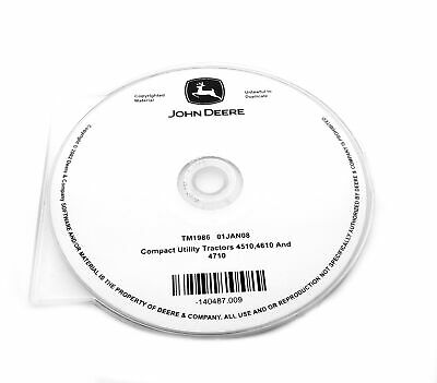 John Deere 451046104710 Compact Utility Tractor Technical Manual Cd - Tm1986cd