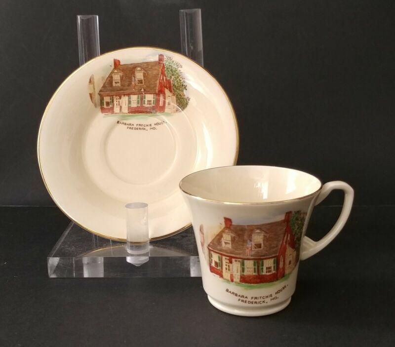Vntg Crown Devon England Demitasse Cup/Saucer Fritchie House MD Stratfordshire