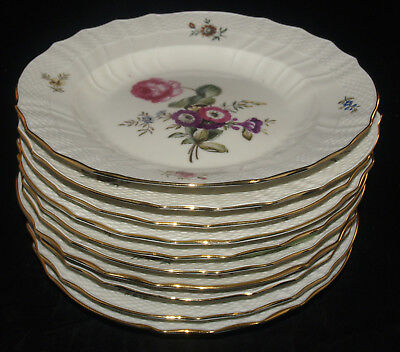 SET OF 10 ROYAL COPENHAGEN FINE CHINA FRIJSENBORG PATTERN DINNER PLATES 10 IN.