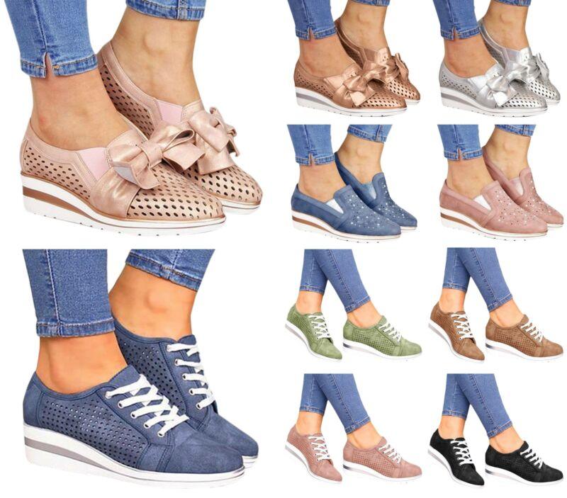 Women Slip On Pump Shoe Wedge Heel Casual Comfy Ladies Loafe