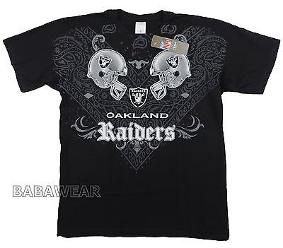 Raiders Face Off T-Shirt Black NFL Oakland Football Bandana Helmet Versus BABA