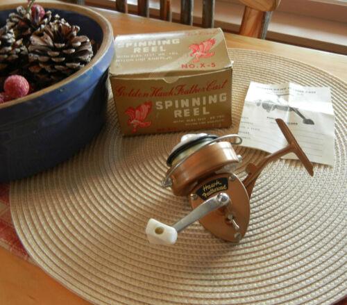 Vintage Golden Hawk Feather Cast Precision Spinning Reel No.X-5 MIJ w/Box