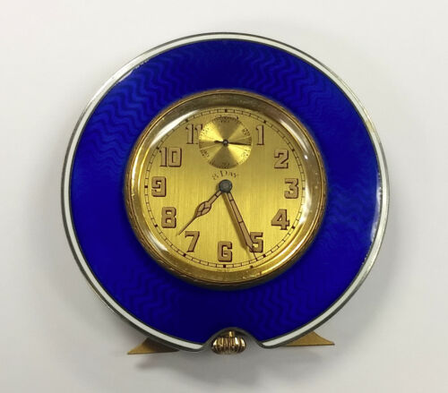 Swiss Art Deco Blue Guilloche Enamel 8 Day Travel Clock Geneve As Is
