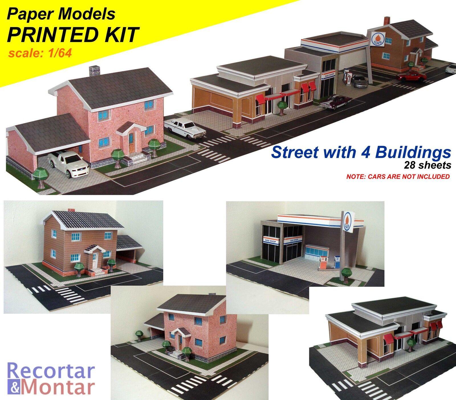 Inkjet printed 1:64 3D Paper Model City Building: House, Gas Station, Shop  Store