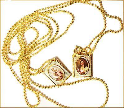 Holy Scapular Medal Vintage Catholic Our Lady of Mount Carmel Sacred Jesus Gold