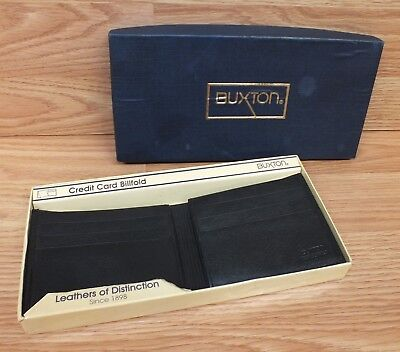 Genuine Buxton Black Leather Credit Card Billfold / Men's Wallet in Box **READ**