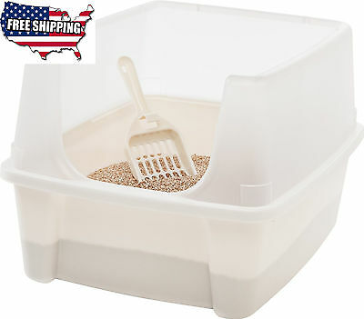 Clean Pet Cat Kitty Toilet Open Top Large Litter Box Shield Cats Scoop Ivory NEW