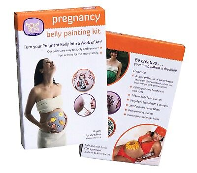ProudBody Pregnancy BELLY PAINTING KIT - Safe for Skin Nontoxic Face Paints