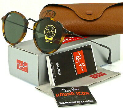 RAY-BAN ROUND FLECK RB2447 1157 49MM TORTOISE-BLACK /  GREEN CLASSIC (Ray Ban 49mm)