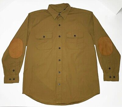 c3b60648 Orvis Leather Trim Elbow Patch Bush Poplin Long Sleeve Button Field Shirt  Mens L