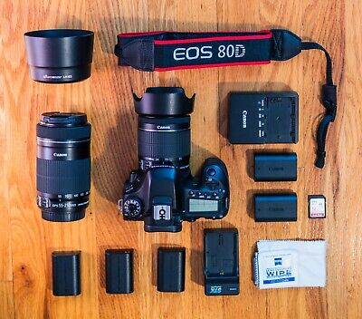 Canon 80D Camera, 18-55mm lens, 55-250mm lens, Bag, 6 batteries, 2 chargers