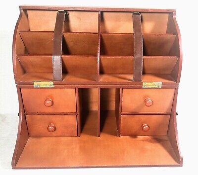 Wooden Desk Organizer Desktop Table Office Accessories Holders Sorter Drawers