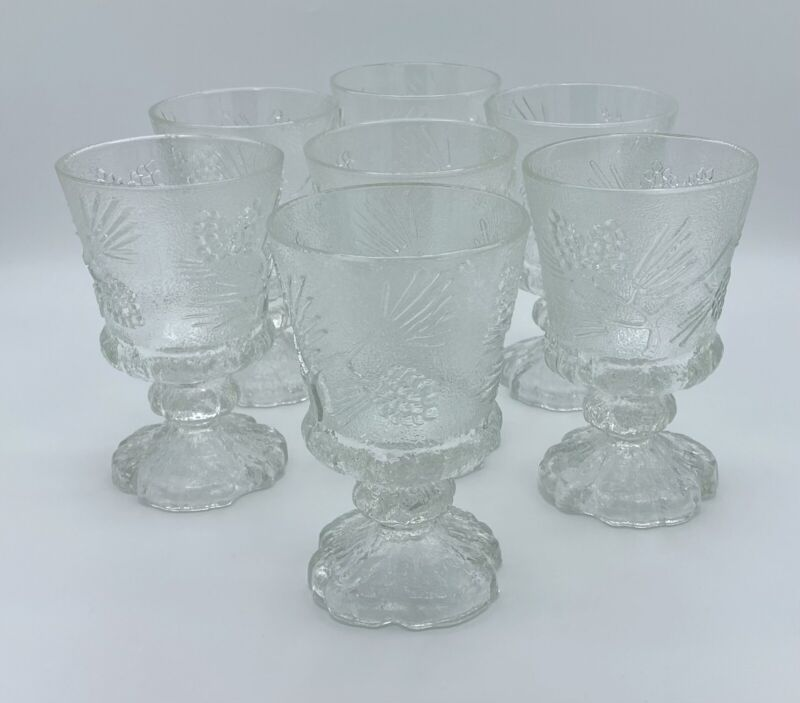 Tiara Ponderosa Pine Vintage Pedestal Glass Mugs. Set Of 6. 6 Inches.