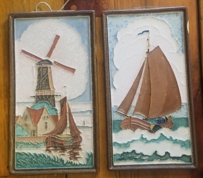 Pair Royal Delft Cloisonne Tiles Sailboat Windmill De Porcelayne Fles