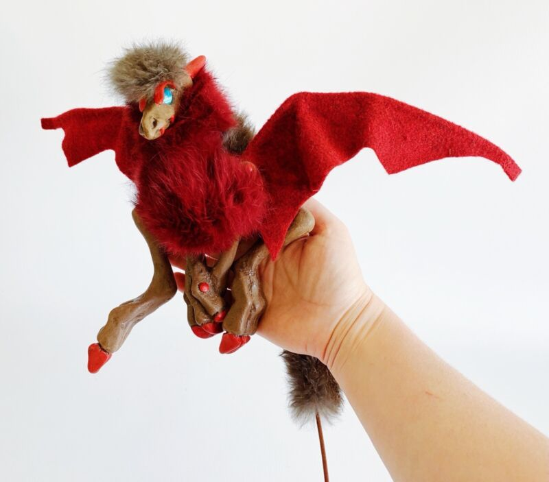 Woodbaby Dragon Shoulder Puppet - Red + Brown, Handmade with Wings