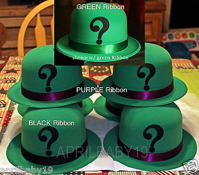 Cosplay Comic Con RIDDLER Green Velour coated DERBY HAT - Comic Cosplay
