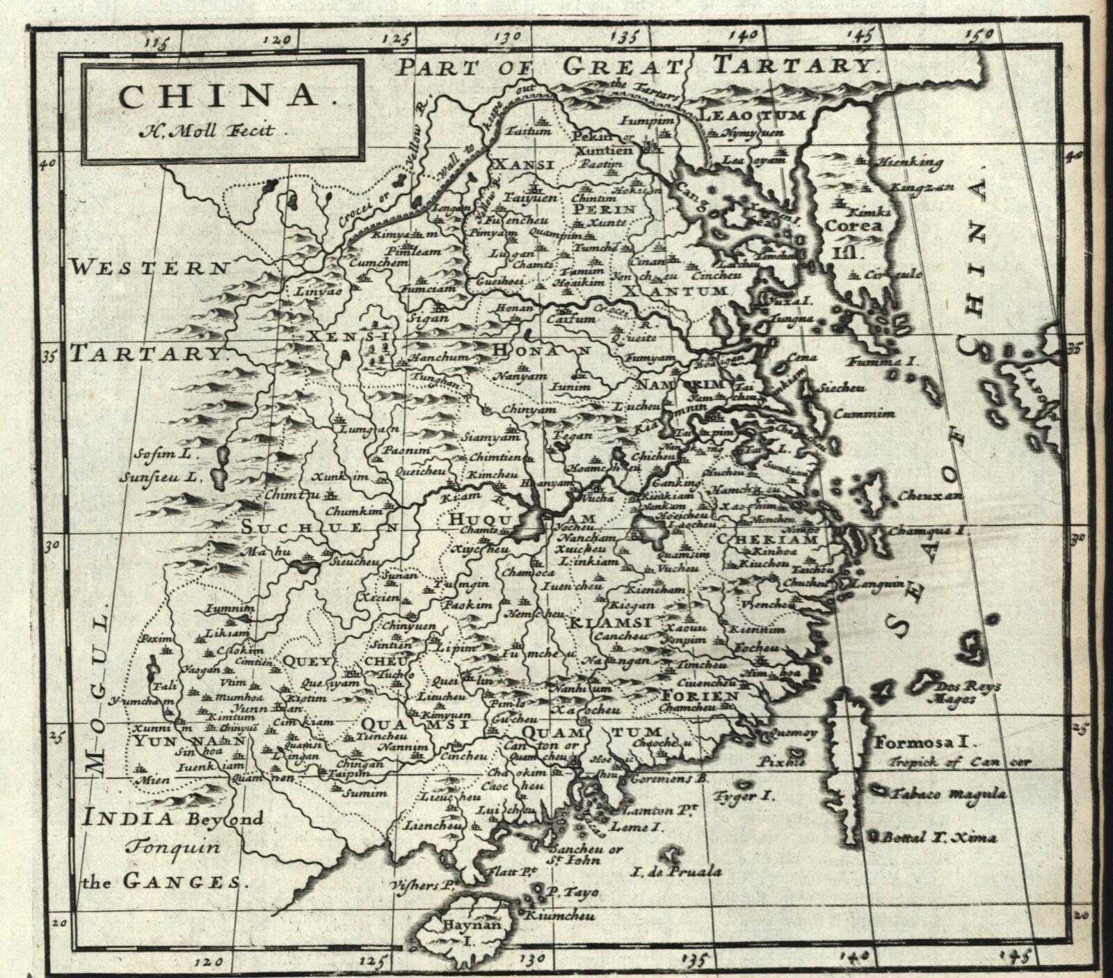 China Korea as an island Formosa 1709 Moll old engraved map