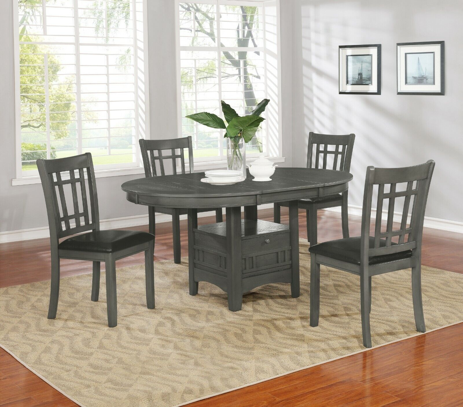 Modern Casual 5 Piece Dining Set with Extension Leaf & Stora